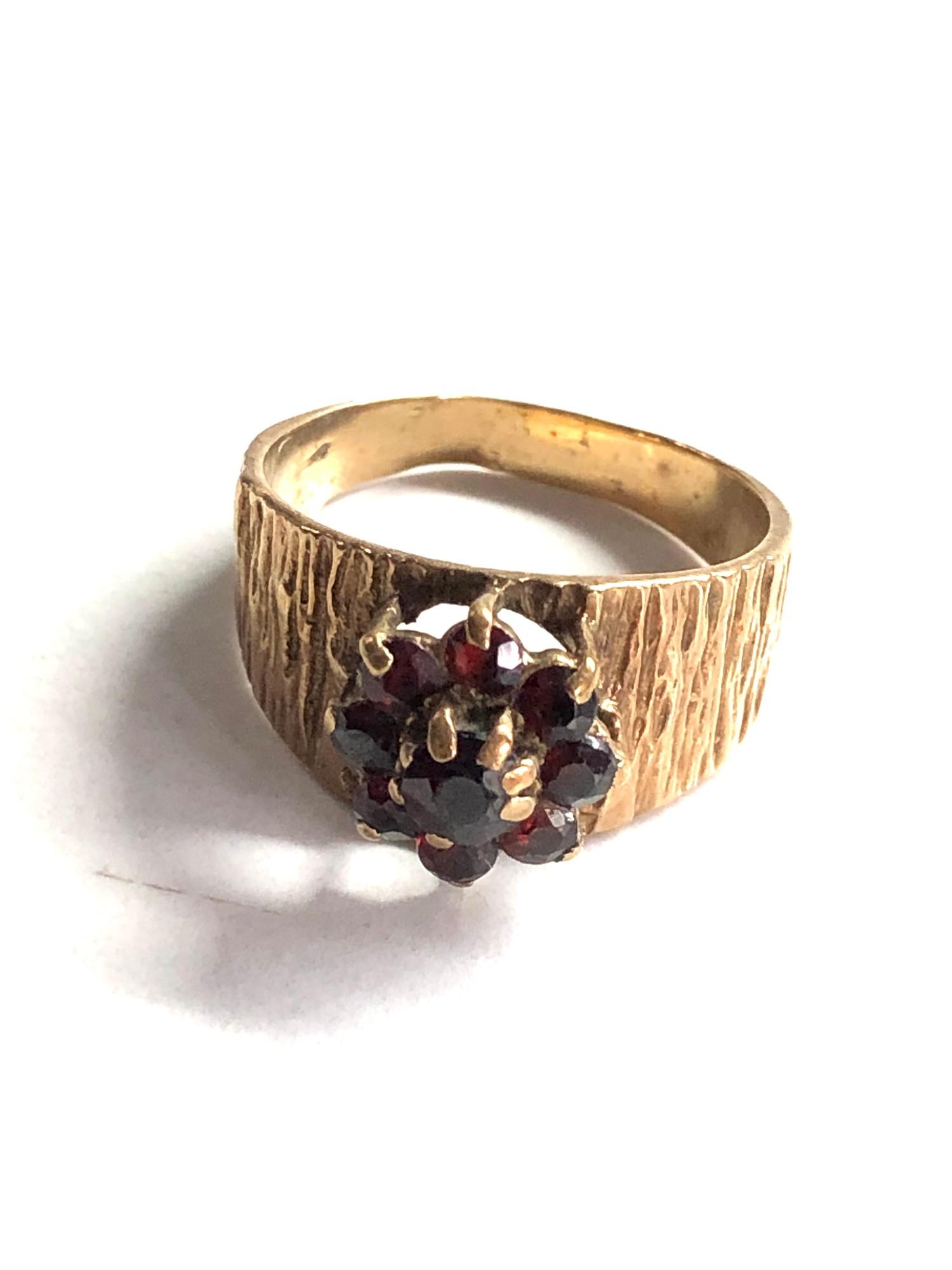 1970s bark textured garnet cluster ring 3.4g