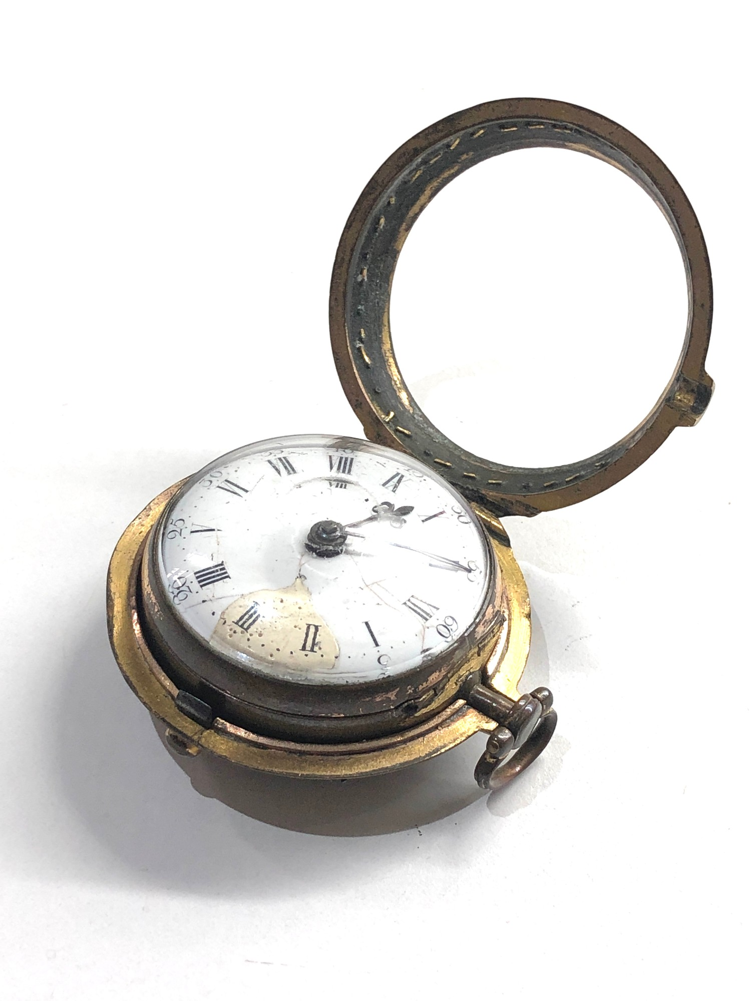 18th century London paircase verge pocket watch the watch does wind and tick dial damaged outer case - Image 8 of 9