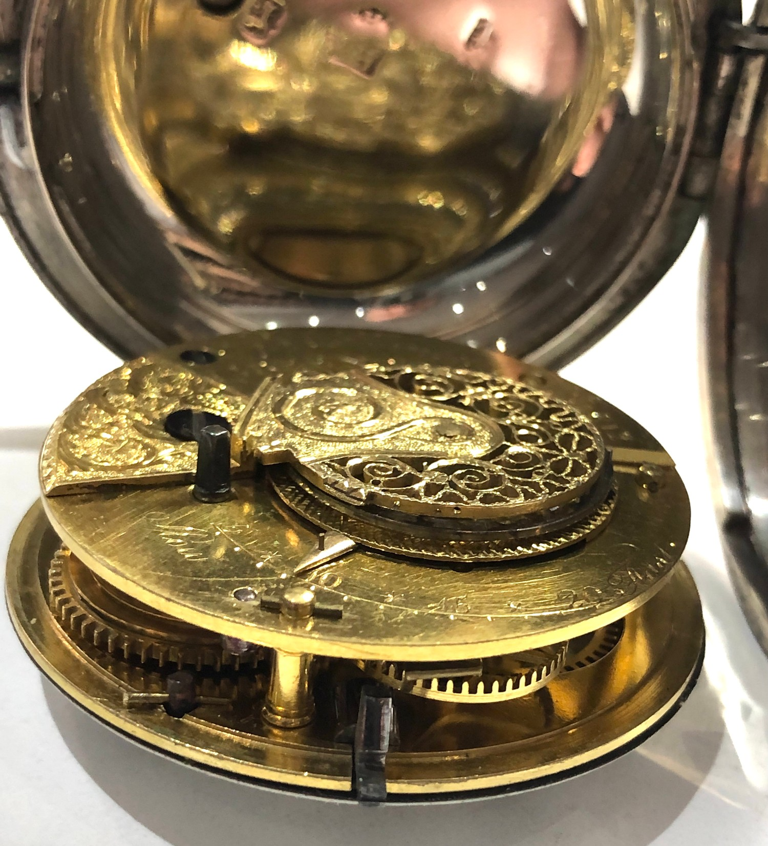 Fine antique silver full hunter case verge fusee pocket watch by Rob Turnball Greenock watch is in - Image 5 of 9