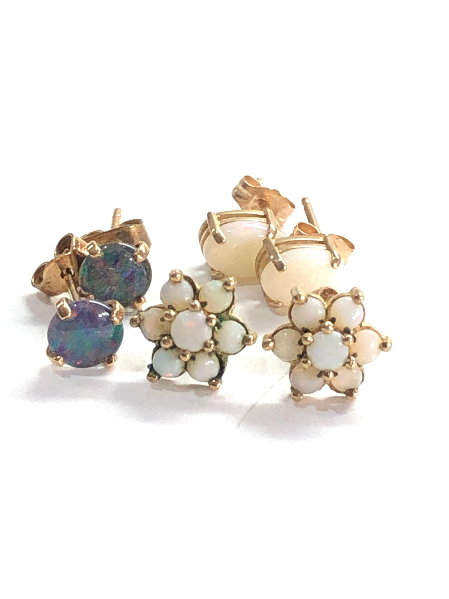 3 x 9ct gold opal earrings inc. studs, cluster - Image 3 of 3