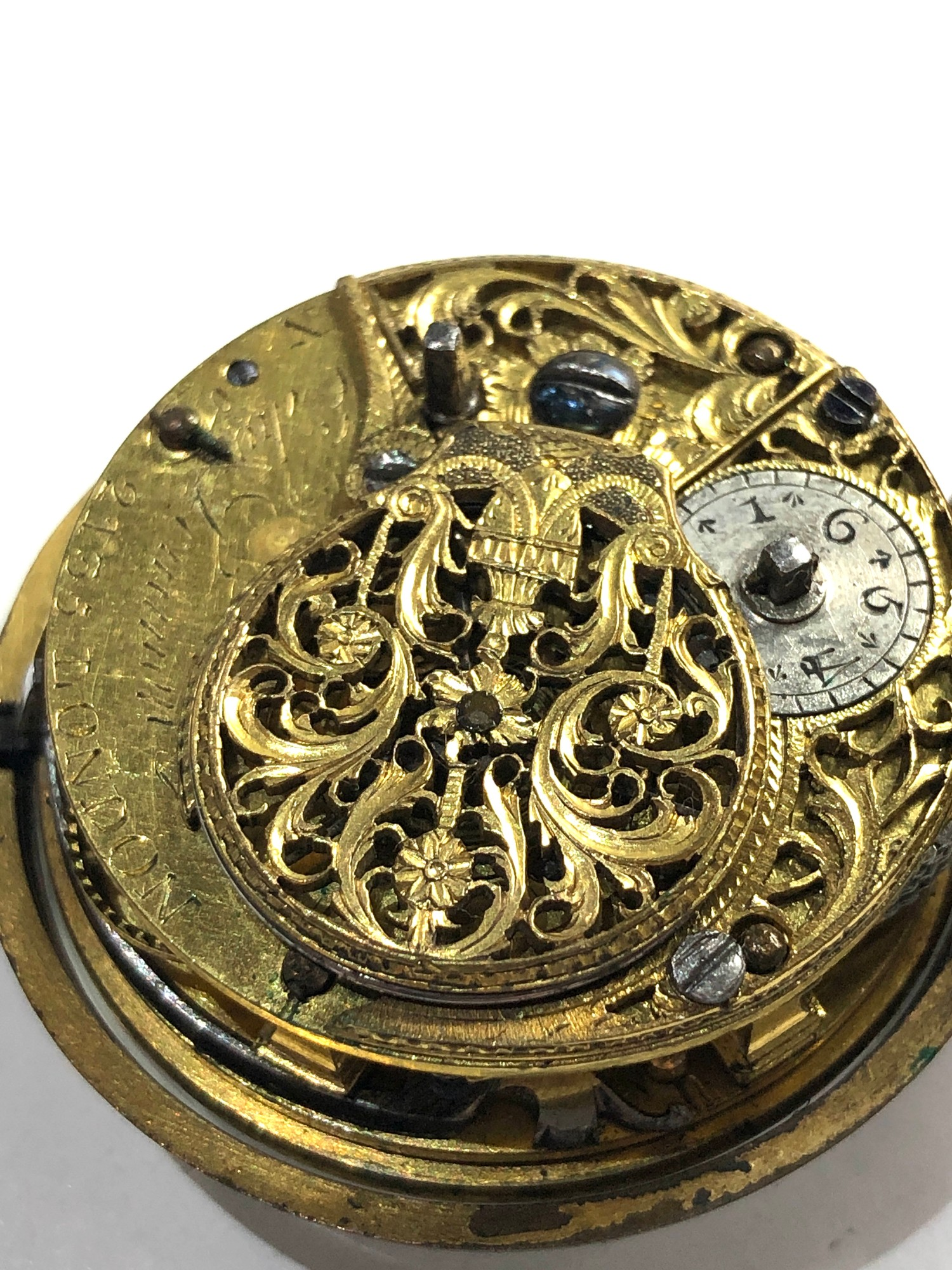 18th century London paircase verge pocket watch the watch does wind and tick dial damaged outer case - Image 5 of 9
