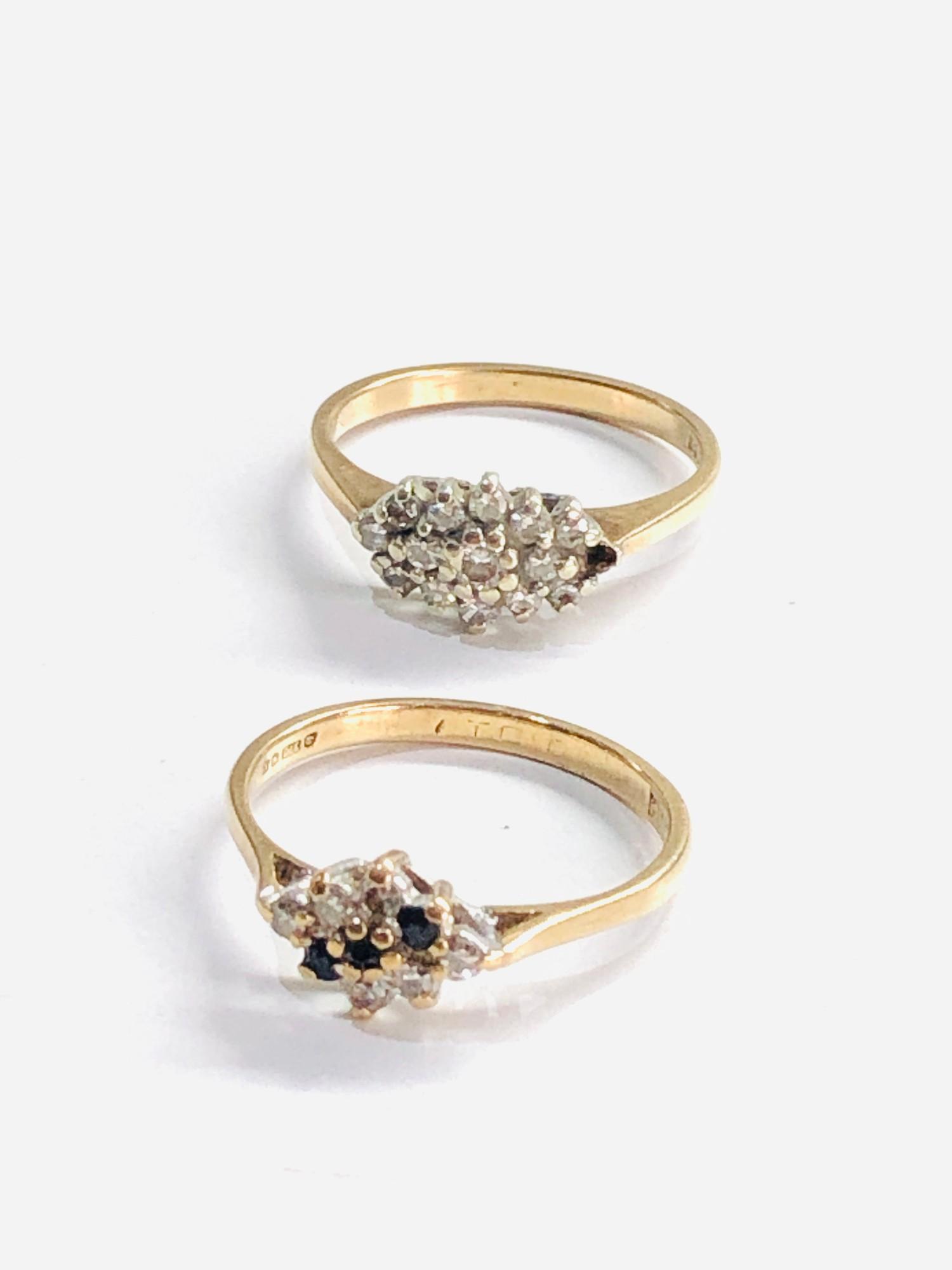 2 x 9ct gold diamond rings missing 1 diamond 3.7g