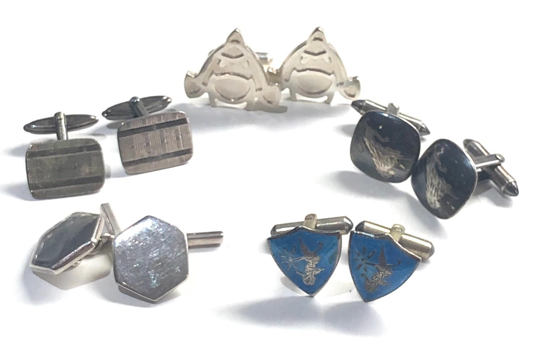 5 pairs of vintage gents silver cufflinks