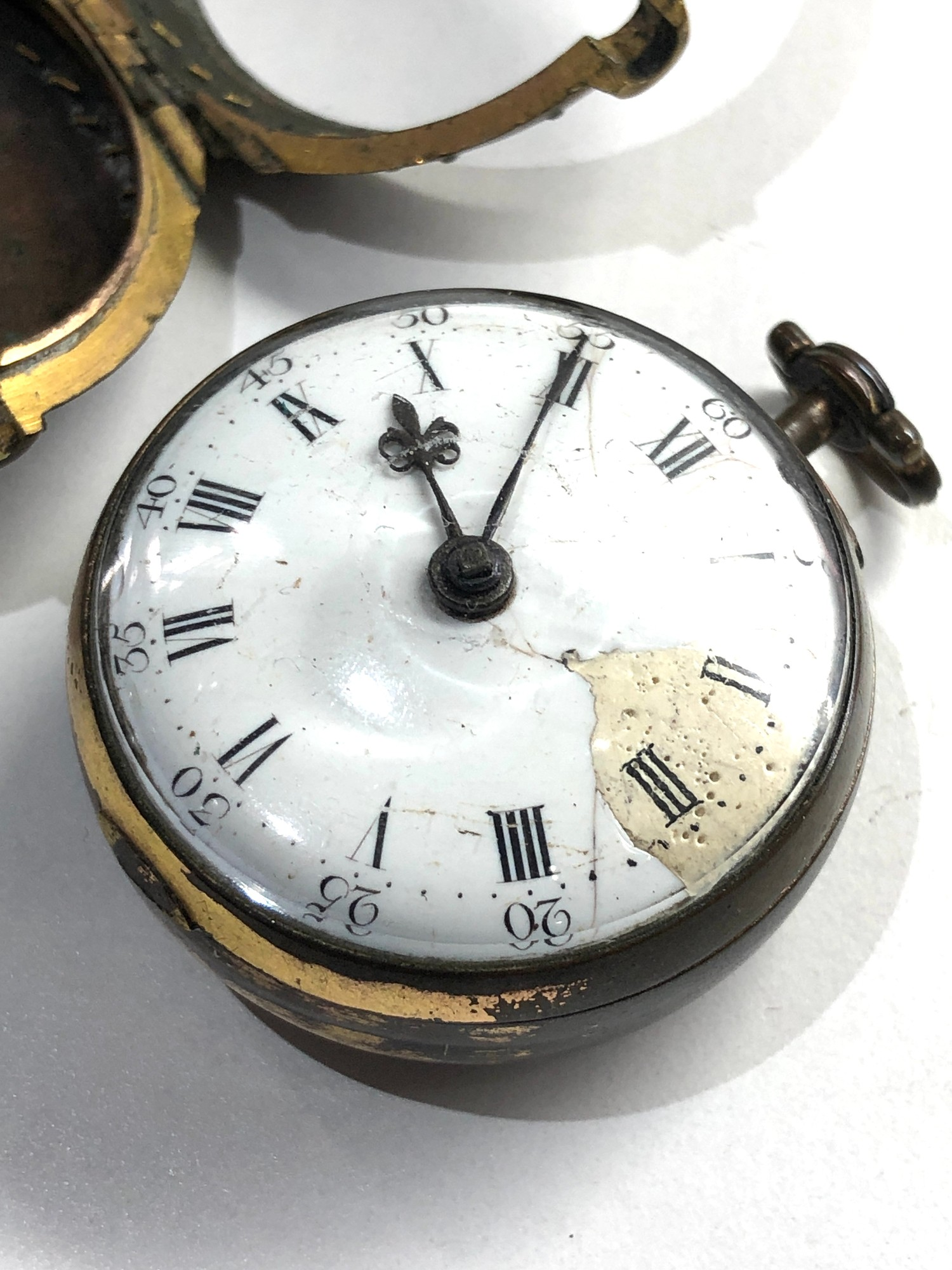 18th century London paircase verge pocket watch the watch does wind and tick dial damaged outer case - Image 7 of 9