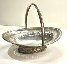 Large georgian silver swing handle pierced silver fruit basket measures approx 35cm by 26cm height