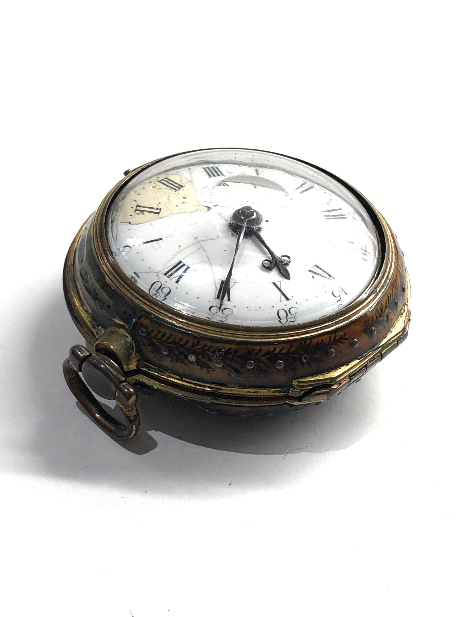 18th century London paircase verge pocket watch the watch does wind and tick dial damaged outer case - Image 9 of 9