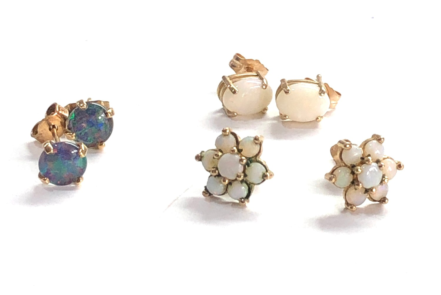 3 x 9ct gold opal earrings inc. studs, cluster - Image 2 of 3