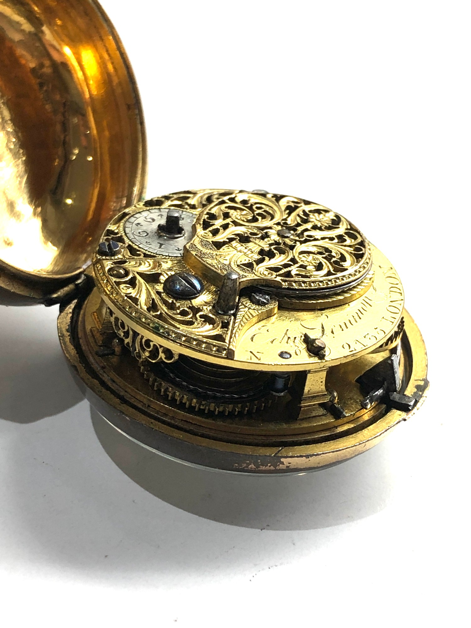 18th century London paircase verge pocket watch the watch does wind and tick dial damaged outer case - Image 3 of 9