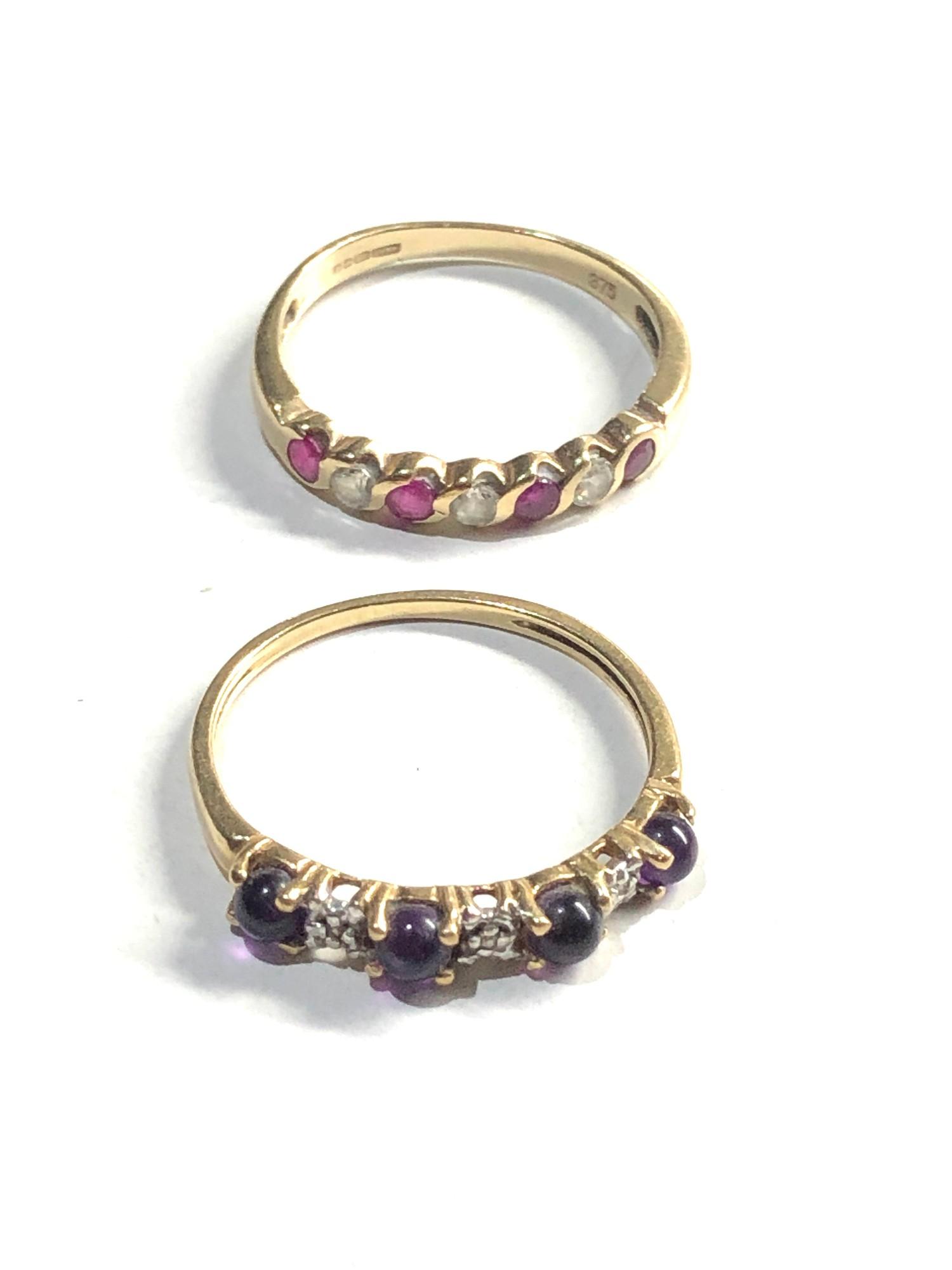 2 x 9ct Gold seven stone rings inc. ruby, amethyst, diamond 3.2g