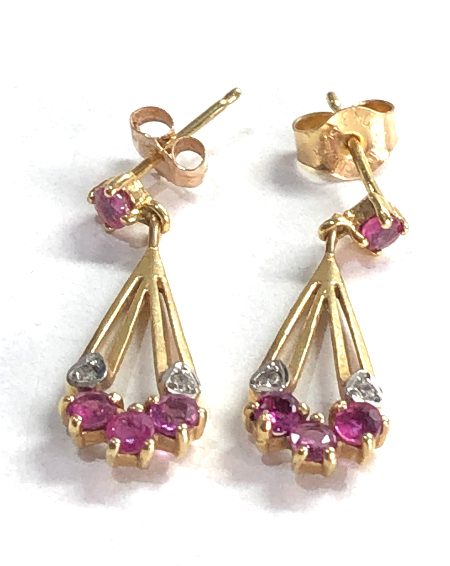 9ct gold diamond and ruby drop earrings - Image 2 of 3