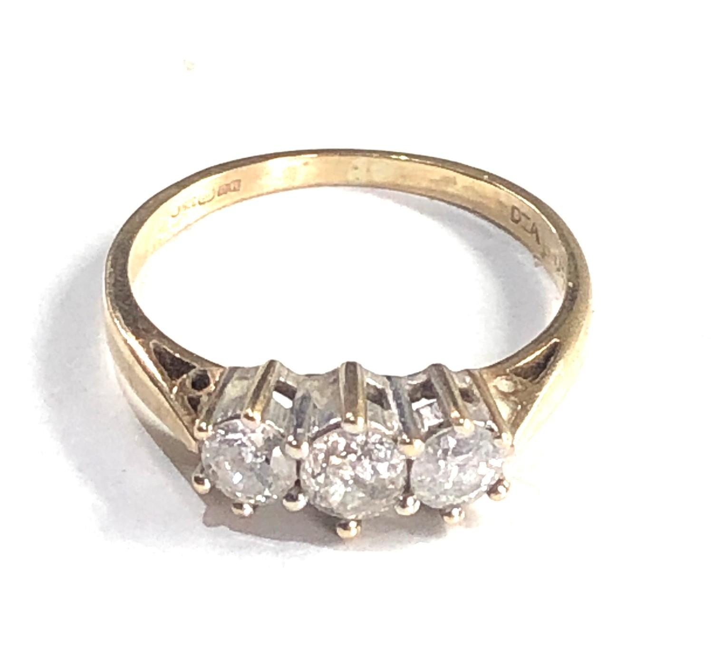 9ct gold 0.50ct diamond trilogy ring 1.8g