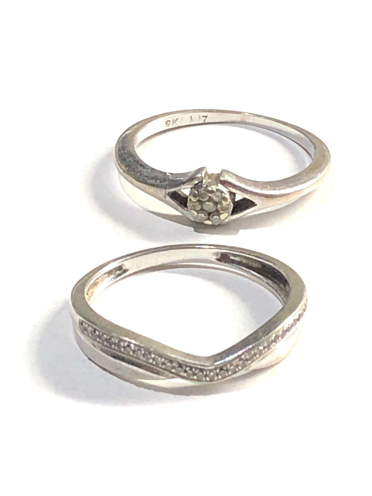 2 x 9ct white gold diamond set rings 3.1g - Image 2 of 3