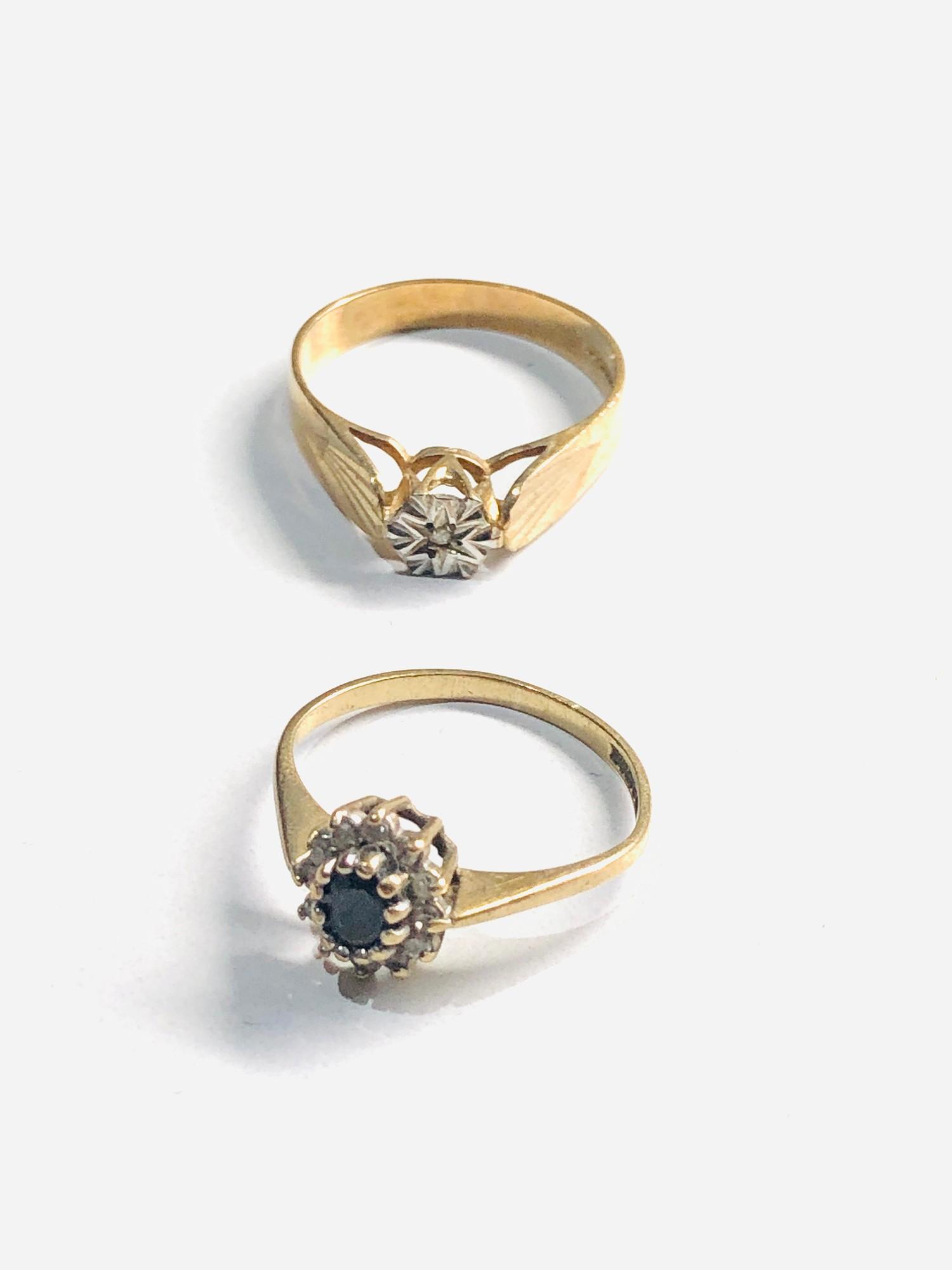 2 x 9ct Gold diamond detail rings 3.2g