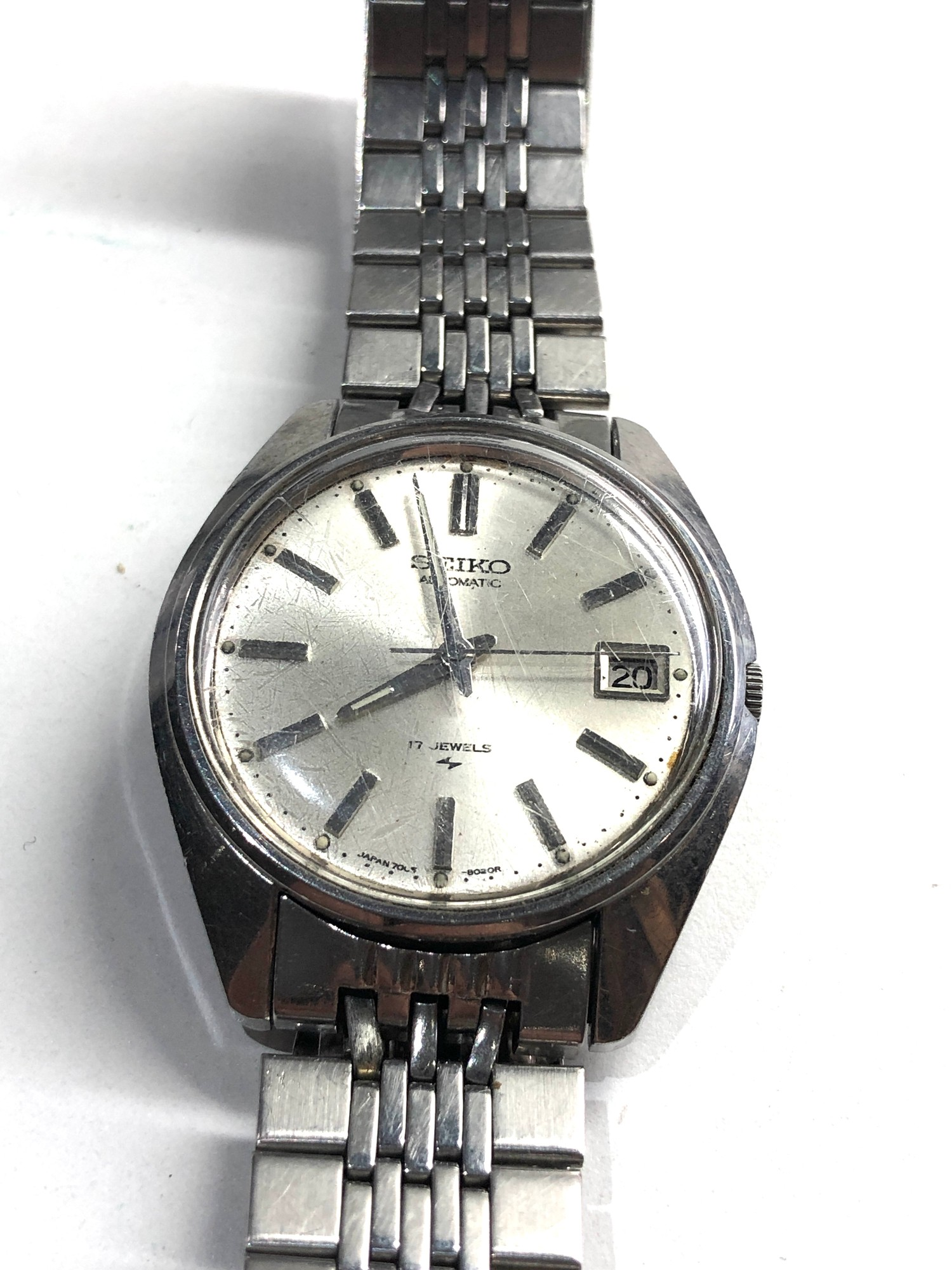 Vintage s-steel 1970's Seiko 7005-8022 classic 17 Jewel automatic Datejust watch working order no - Image 2 of 5
