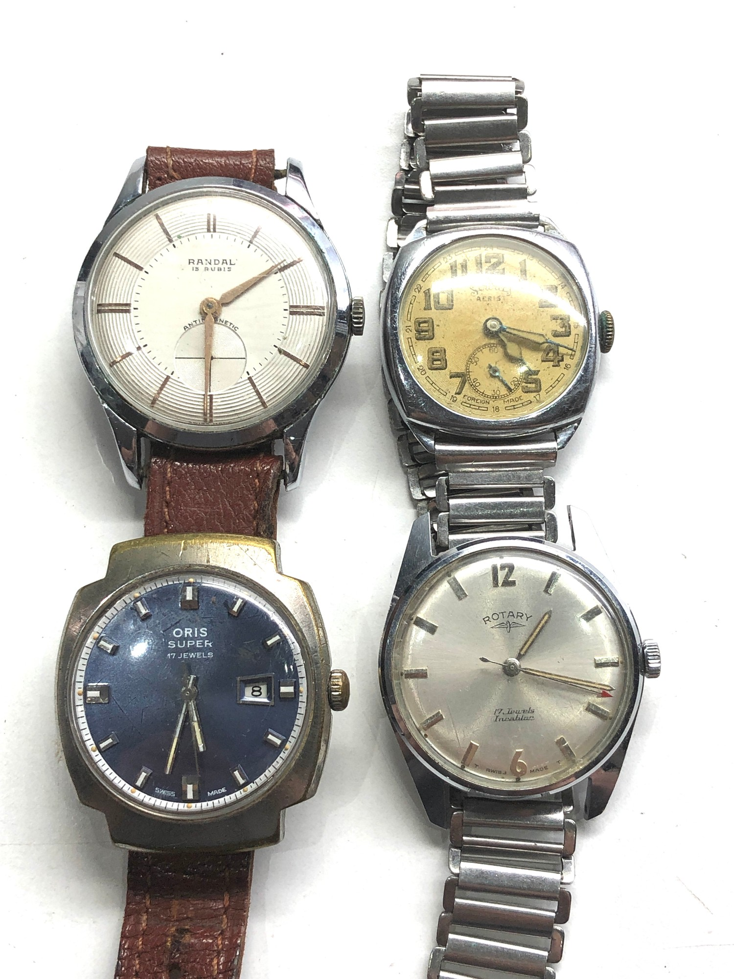 Selection of 4 vintage gents wristwatches includes rotary oris services and randal untested spares