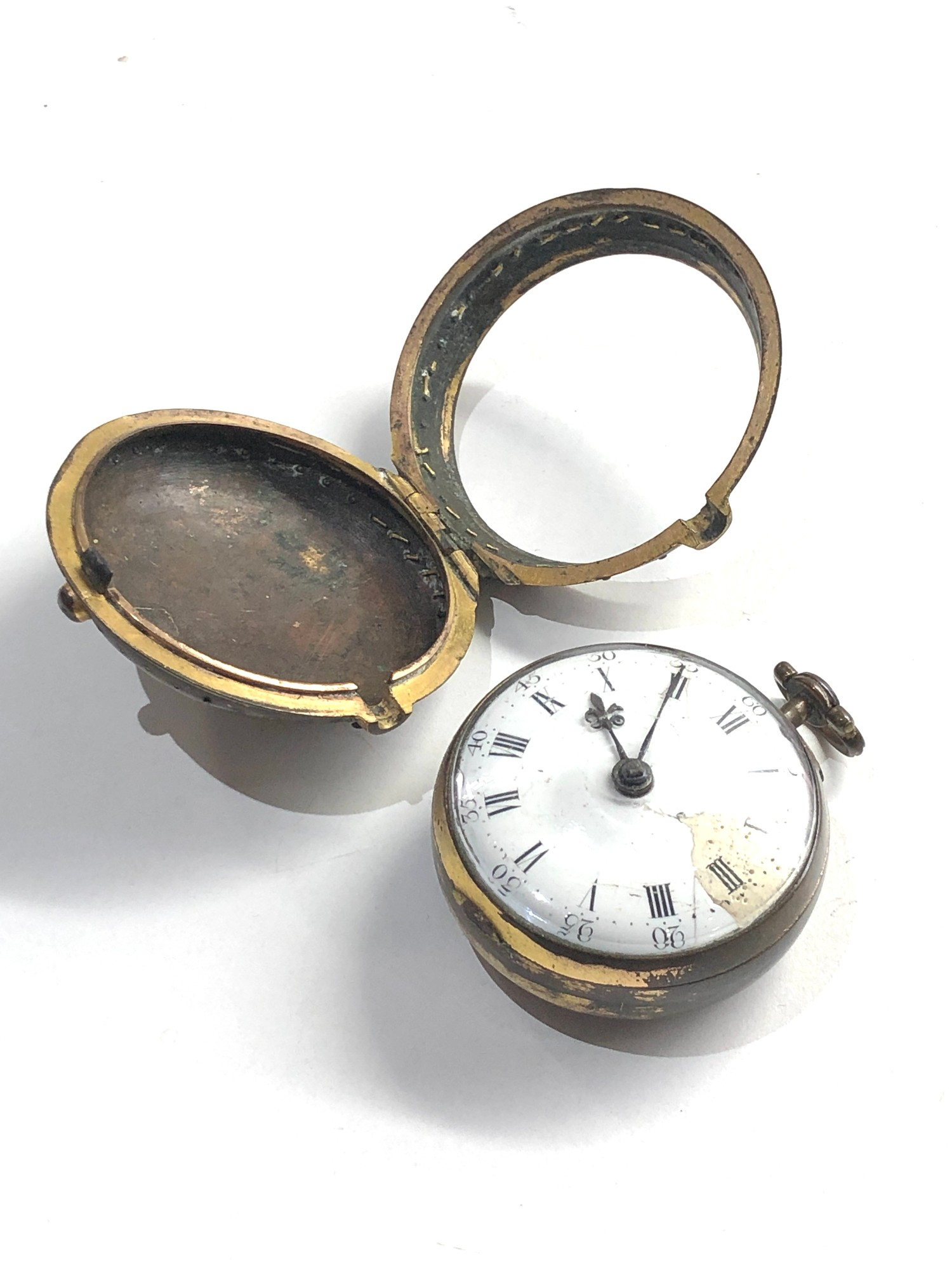 18th century London paircase verge pocket watch the watch does wind and tick dial damaged outer case - Image 6 of 9