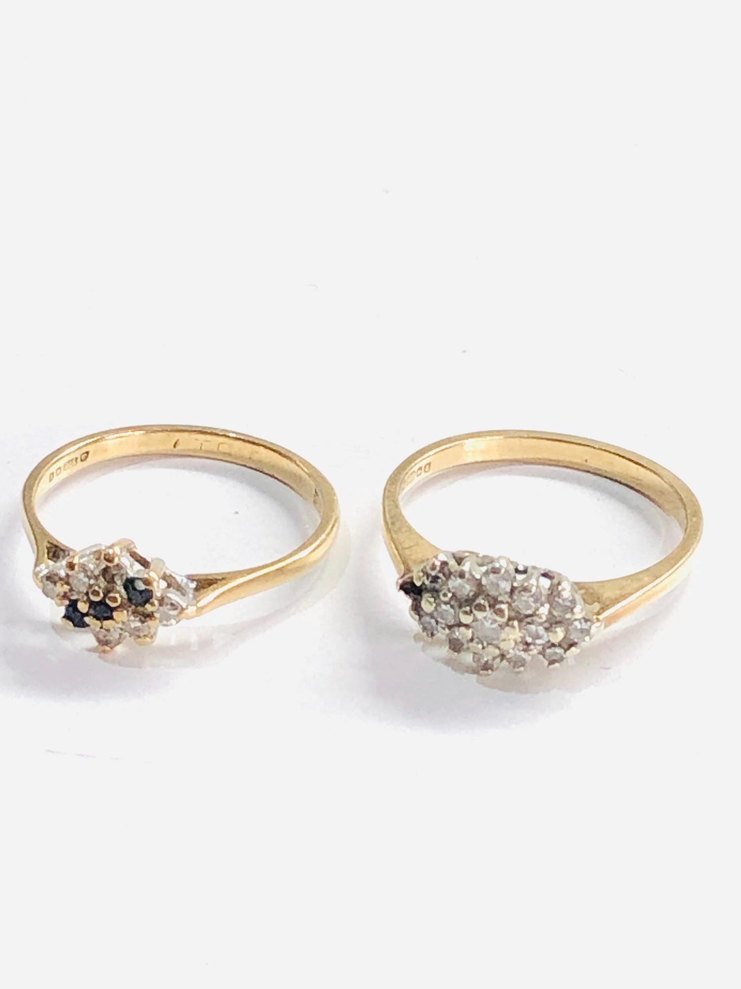 2 x 9ct gold diamond rings missing 1 diamond 3.7g - Image 2 of 3