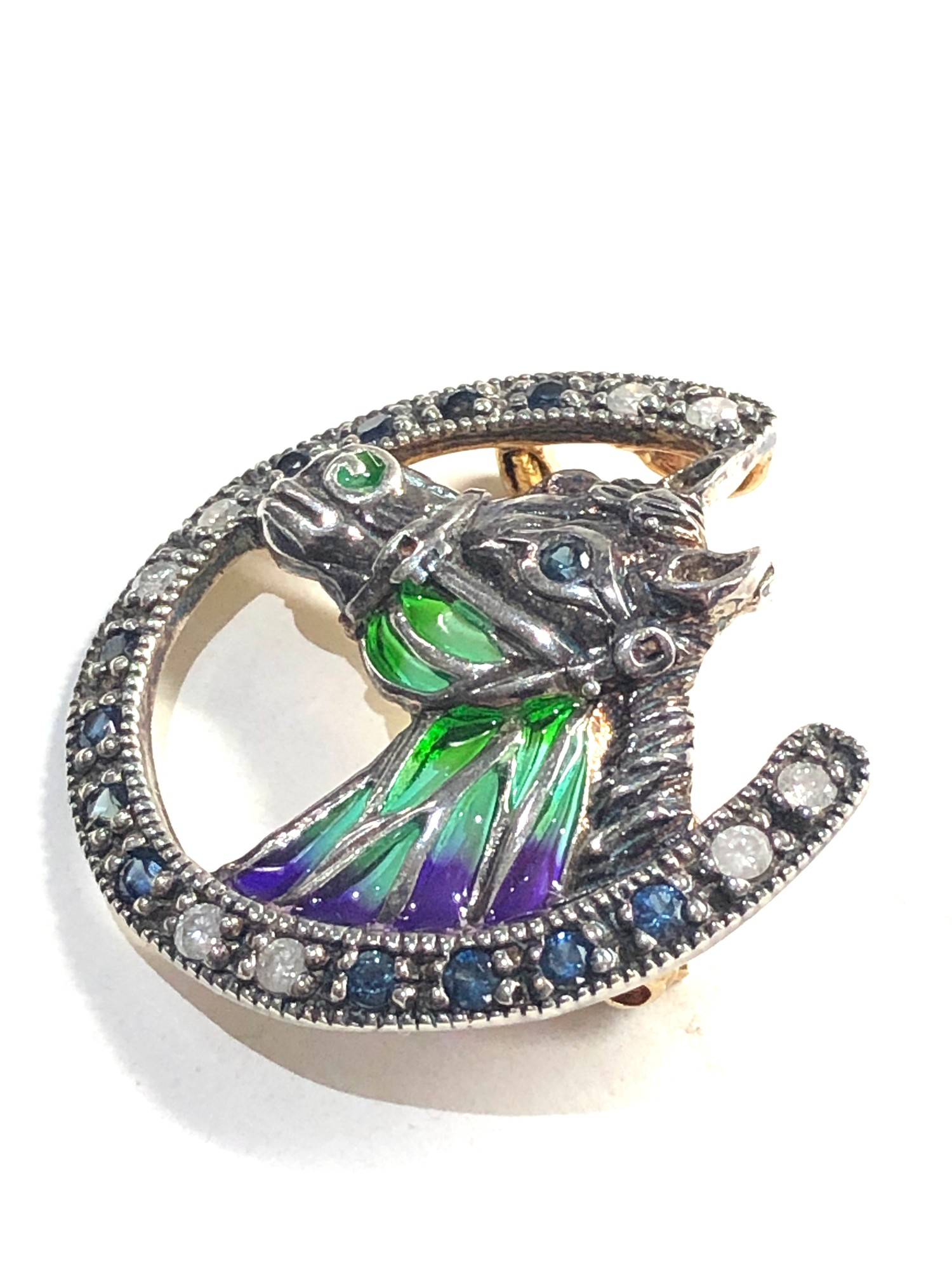 Fine Plique a Jour diamond and sapphire horse brooch gold back measures approx 2.8cm by 2.8cm - Image 2 of 4