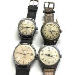 Selection of 4 vintage gents wrist watches includes towne ingersoll sekonda hirco sports untested