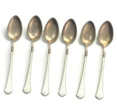 Set of silver and enamel tea spoons hallmarked 925s