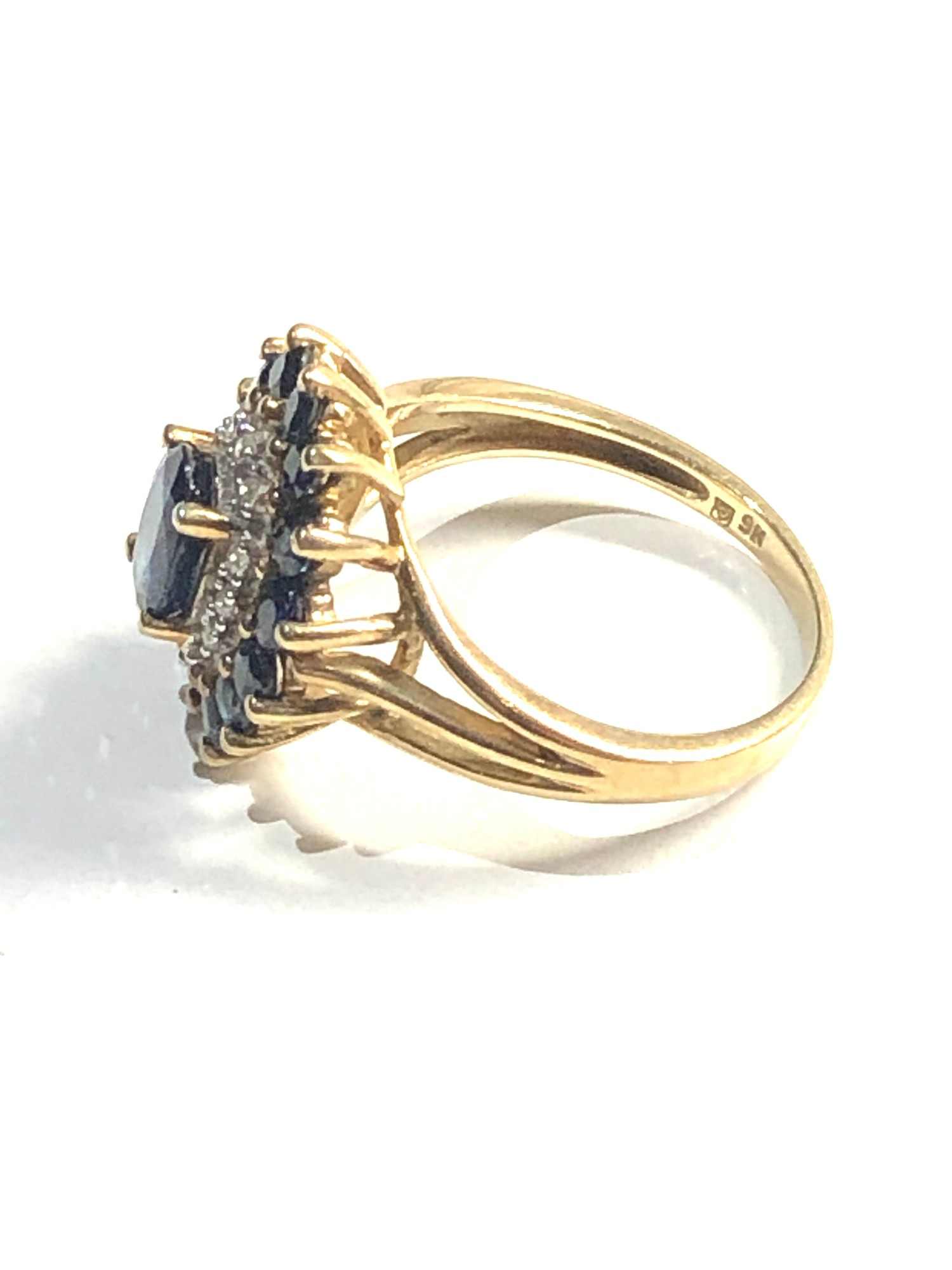 9ct sapphire & diamond cluster ring 3.9g - Image 2 of 3