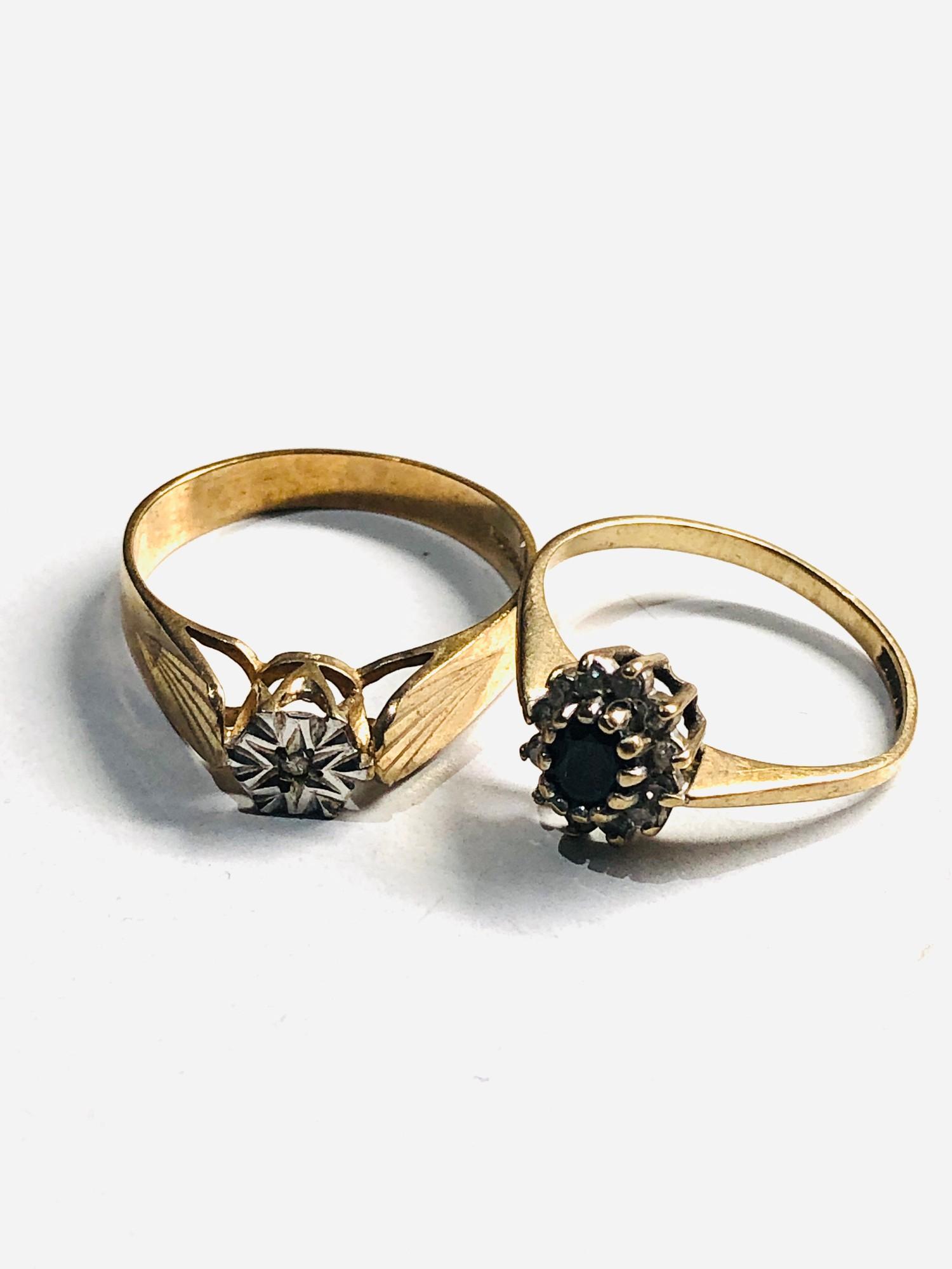2 x 9ct Gold diamond detail rings 3.2g - Image 2 of 3