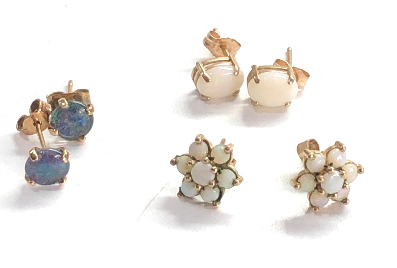 3 x 9ct gold opal earrings inc. studs, cluster