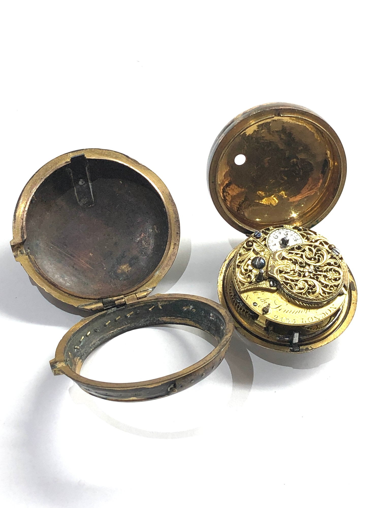 18th century London paircase verge pocket watch the watch does wind and tick dial damaged outer case