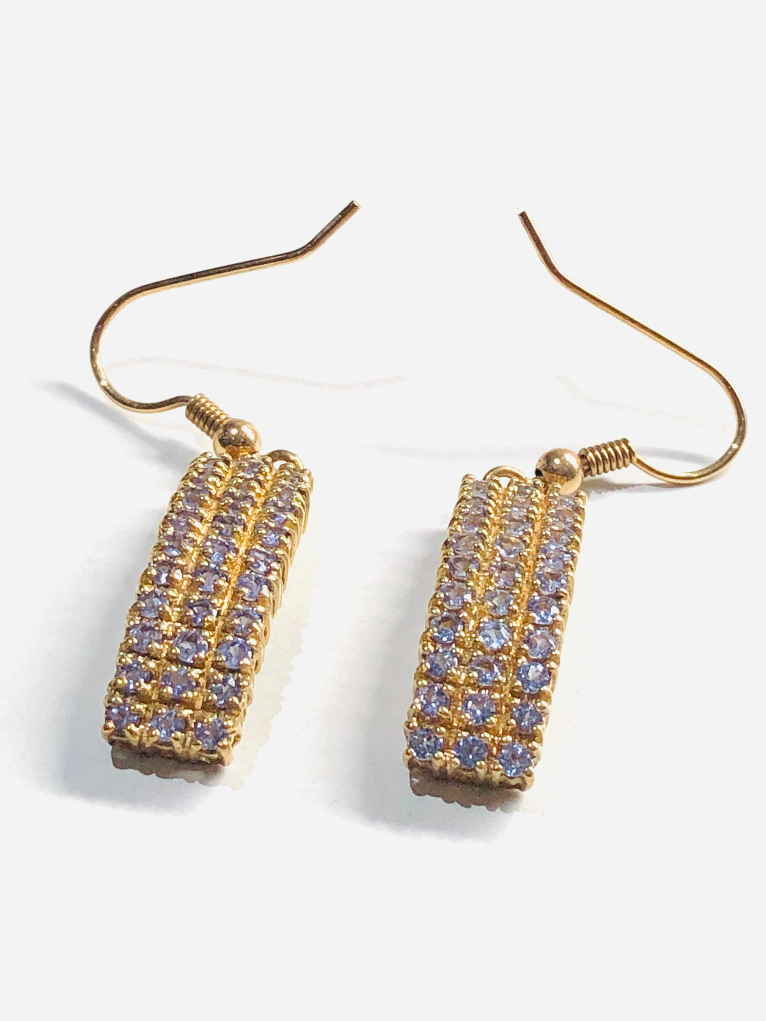 9ct Curved rectangular drop earrings 5.7g - Image 2 of 3
