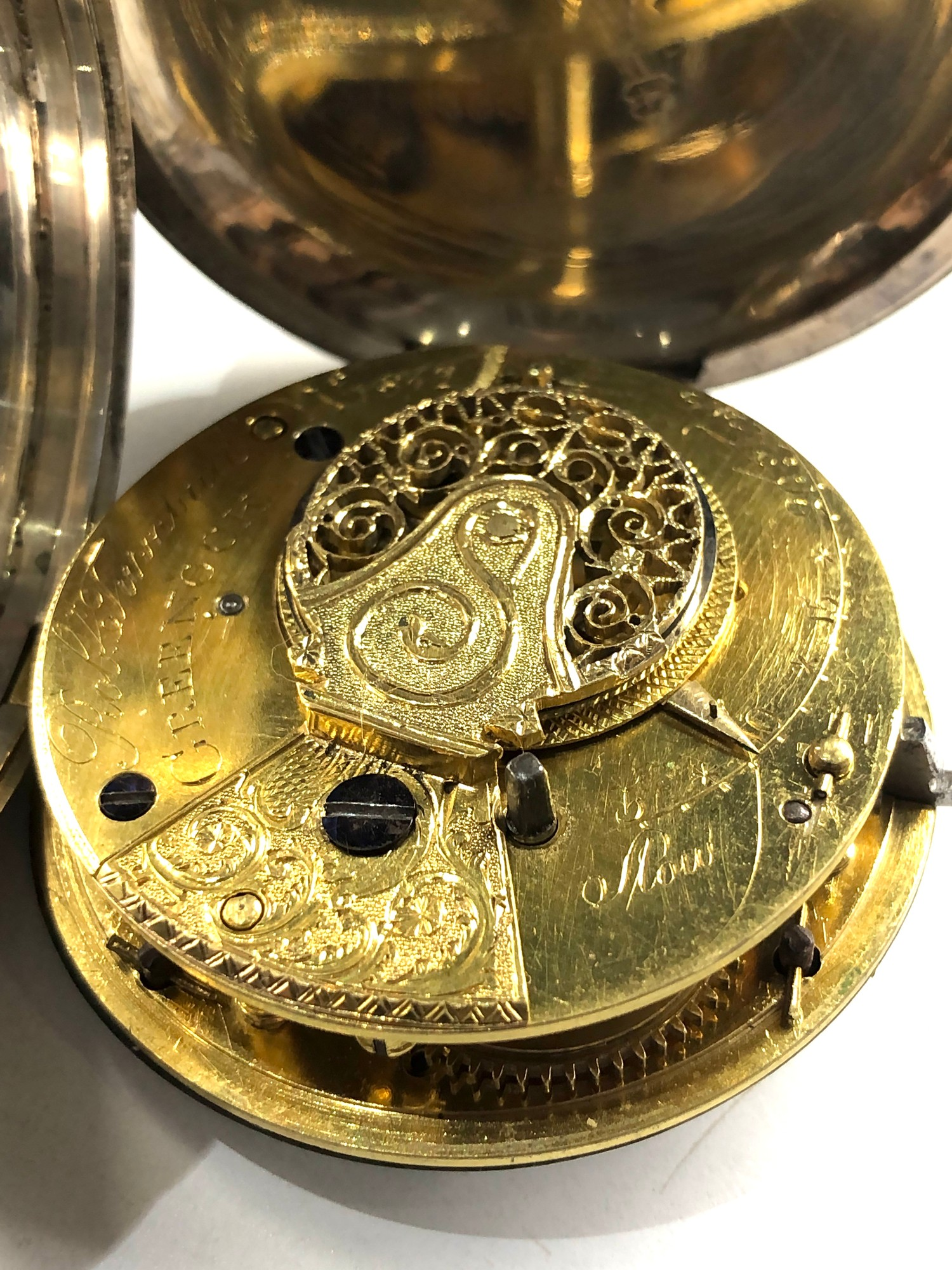 Fine antique silver full hunter case verge fusee pocket watch by Rob Turnball Greenock watch is in - Image 4 of 9