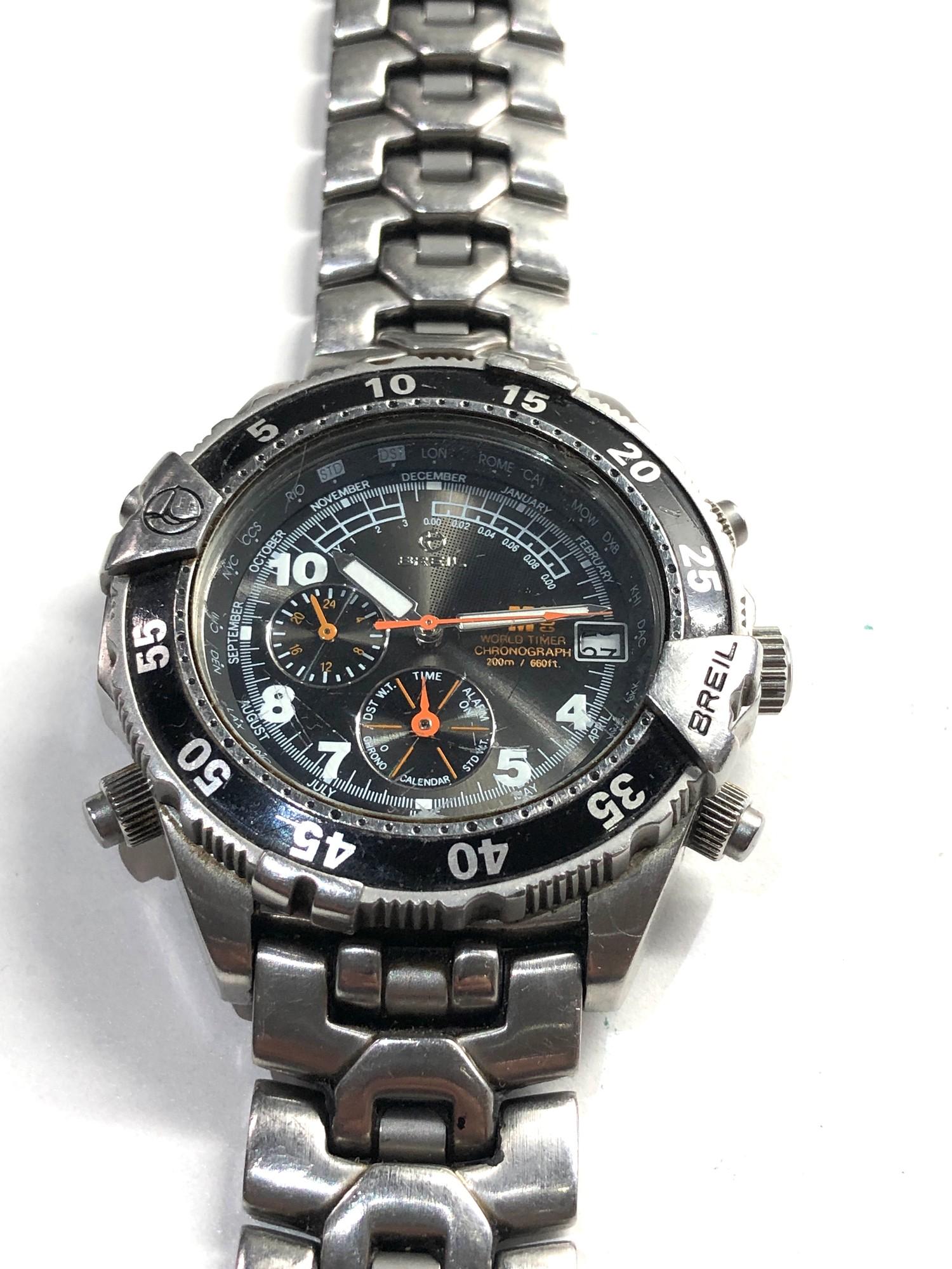 Gents Breil world timer chronograph wristwatch spares or repair