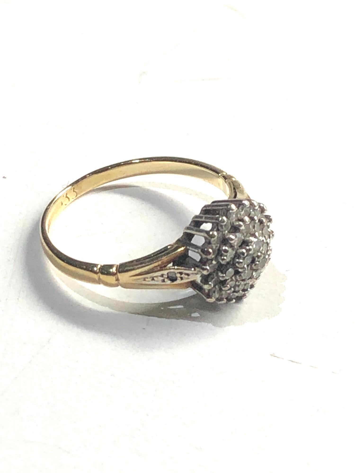 9ct gold diamond cluster ring 0.33ct diamonds - Image 2 of 3