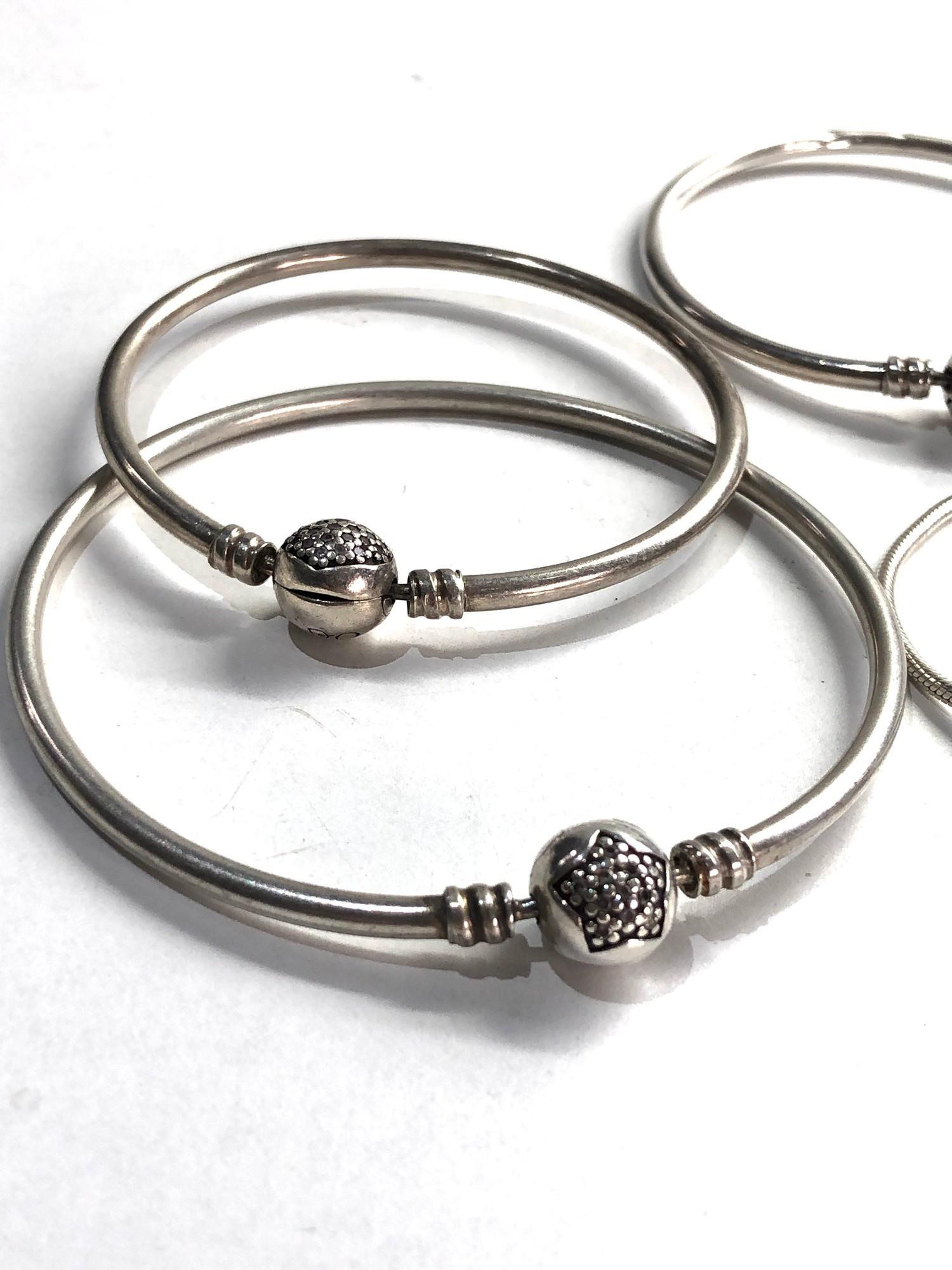 4 silver pandora bracelets - Image 2 of 3