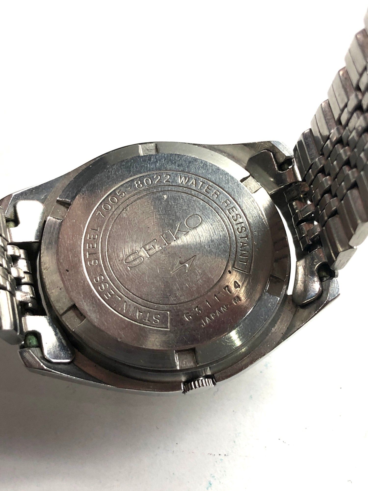 Vintage s-steel 1970's Seiko 7005-8022 classic 17 Jewel automatic Datejust watch working order no - Image 5 of 5