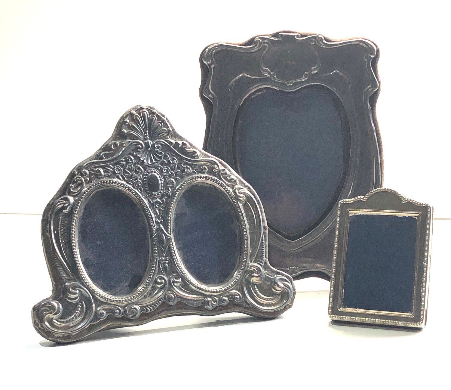 3 vintage silver picture frames largest measures approx 20cm by 14cm