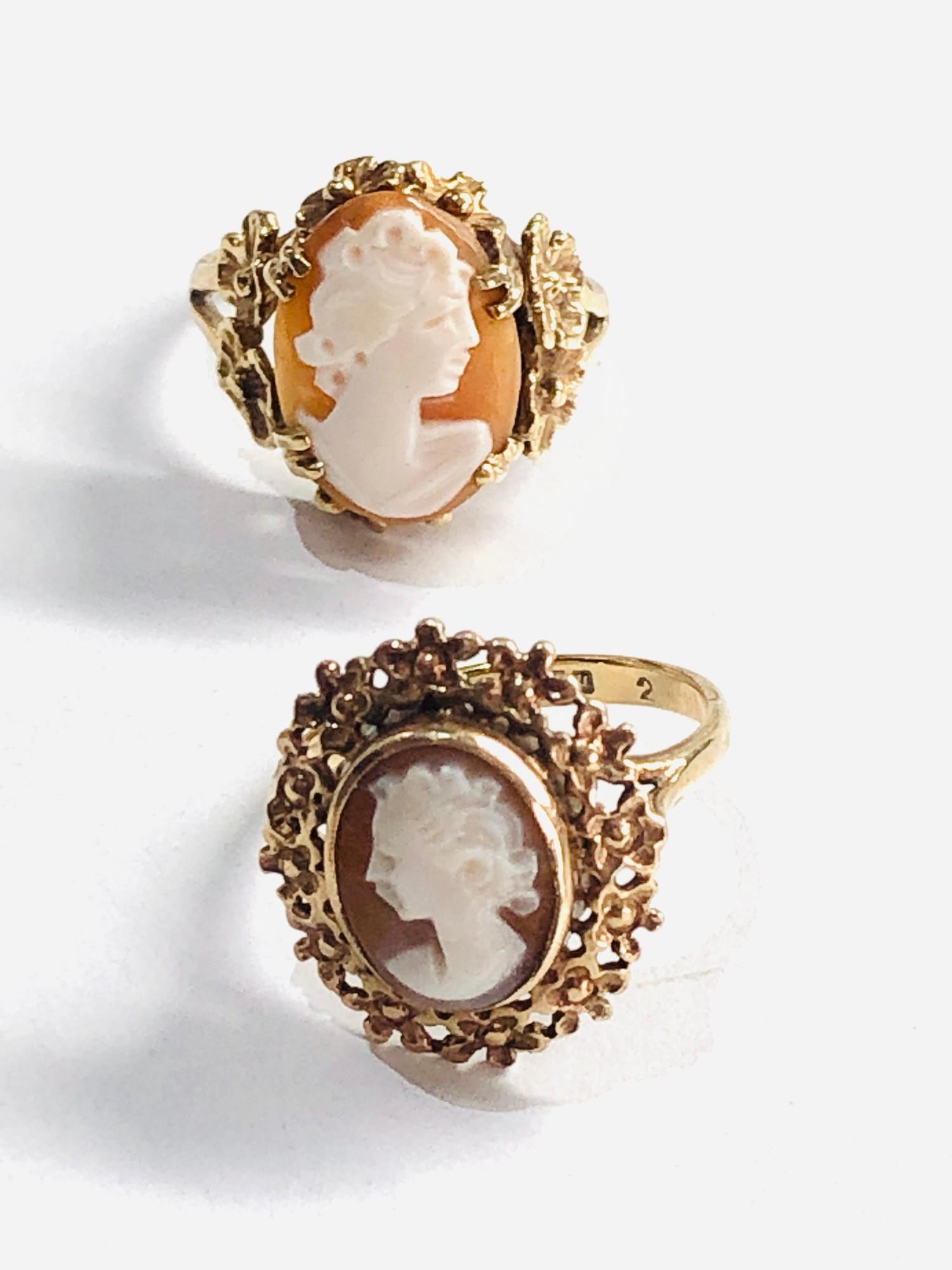 2 x 9ct gold vintage cameo floral framed rings 6g