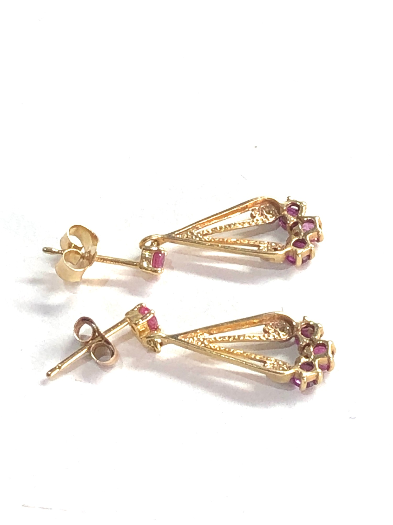 9ct gold diamond and ruby drop earrings - Image 3 of 3