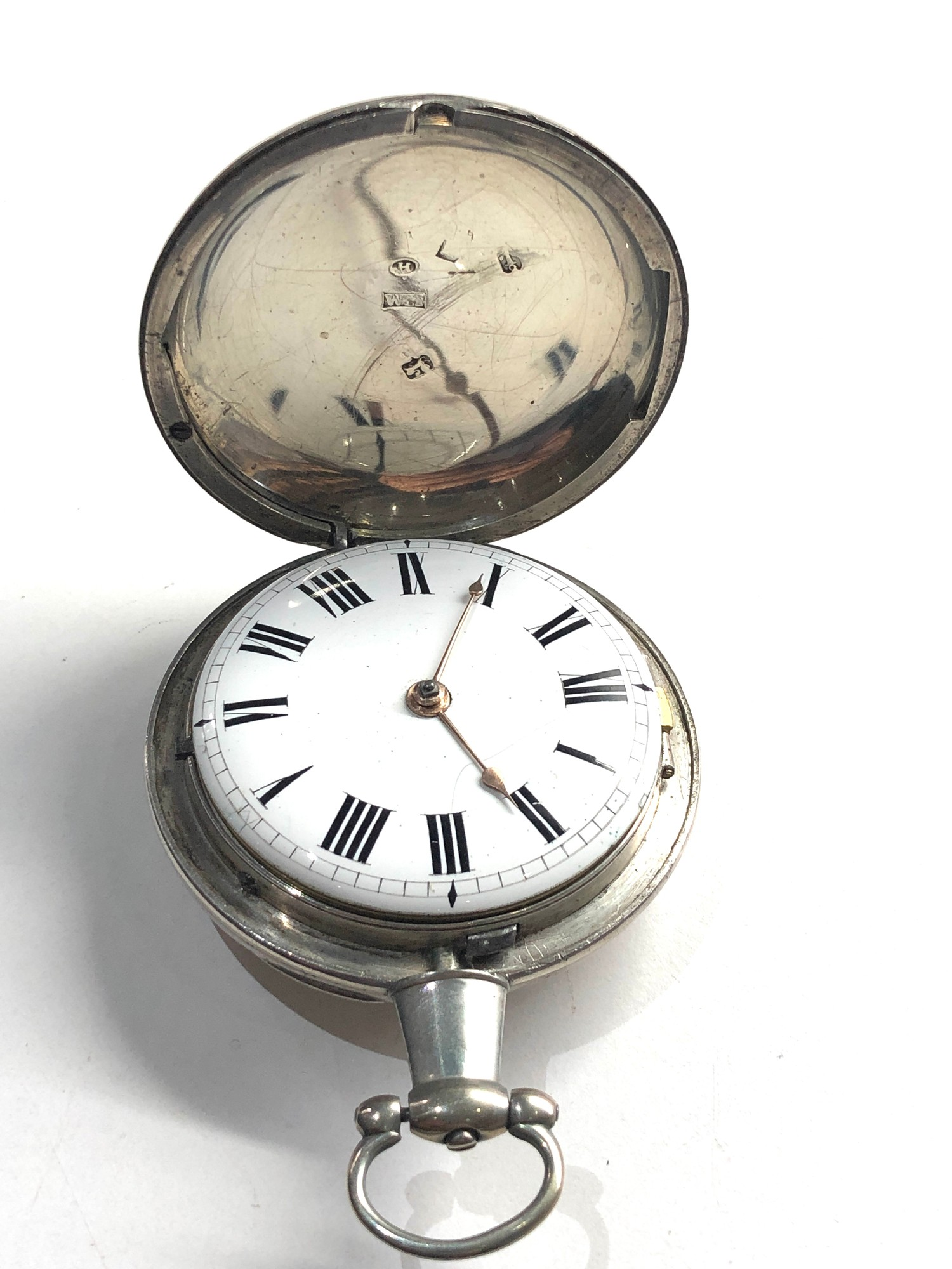 Fine antique silver full hunter case verge fusee pocket watch by Rob Turnball Greenock watch is in - Image 2 of 9