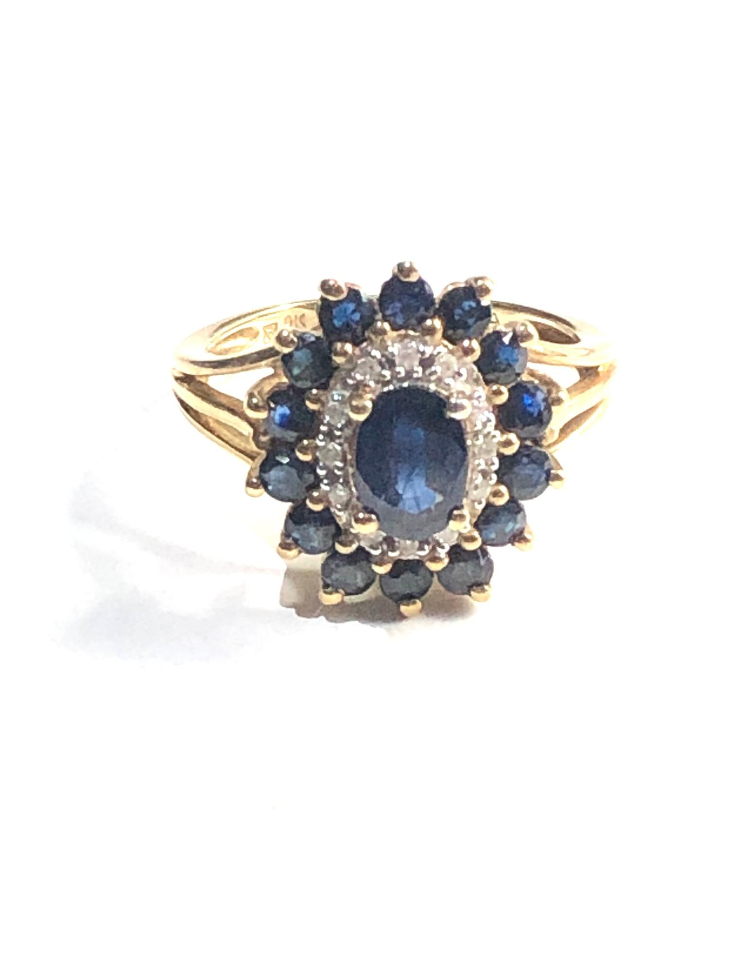 9ct sapphire & diamond cluster ring 3.9g