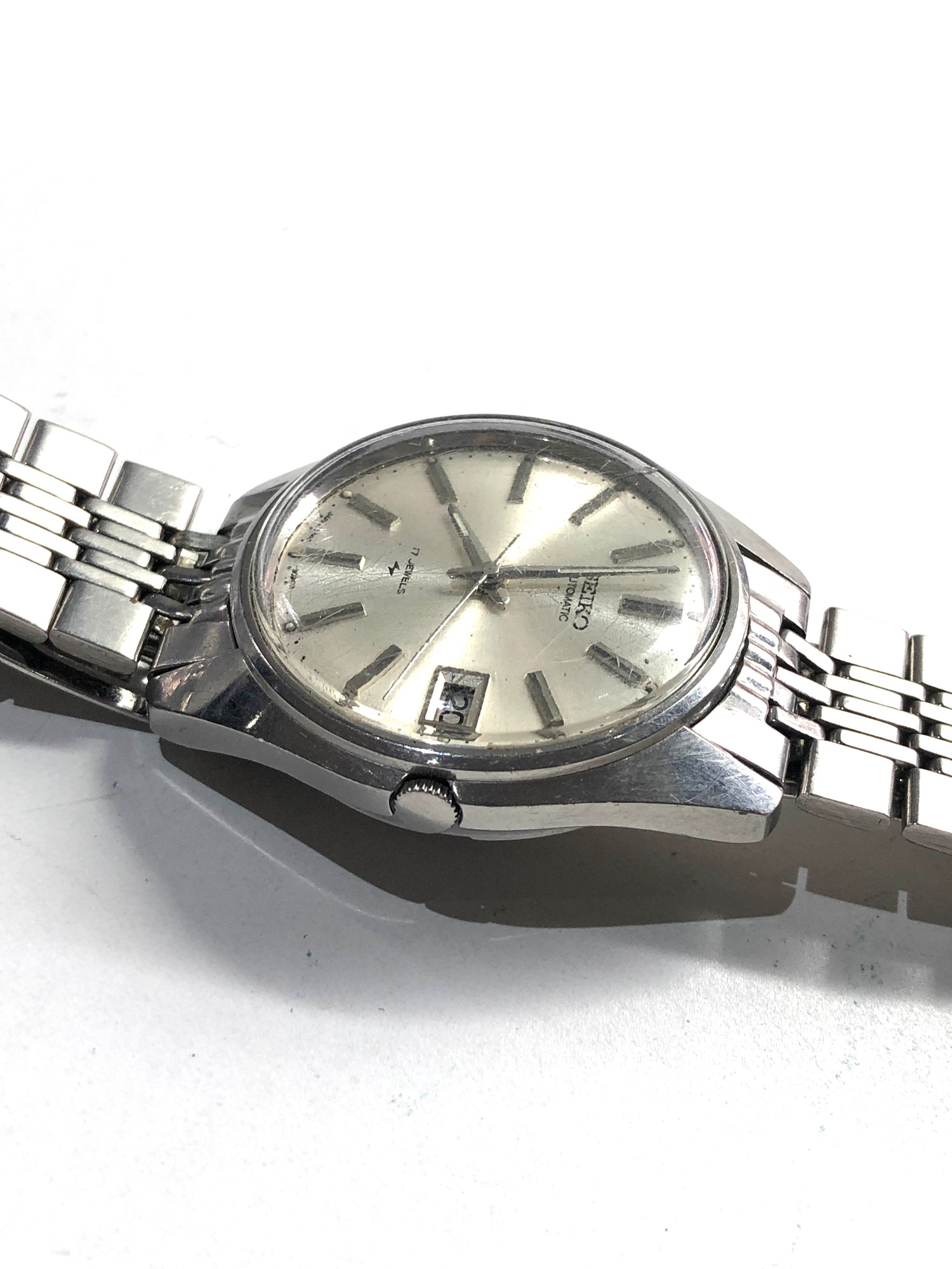 Vintage s-steel 1970's Seiko 7005-8022 classic 17 Jewel automatic Datejust watch working order no - Image 3 of 5