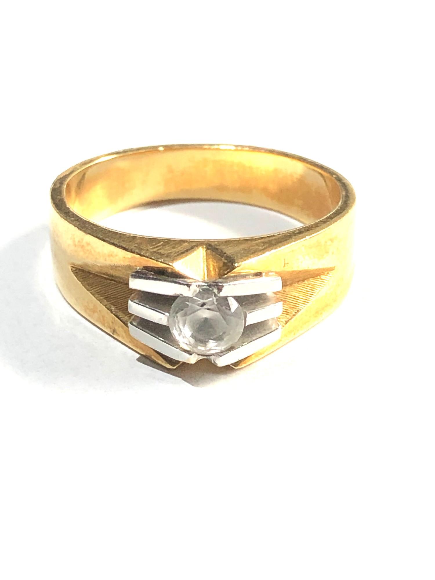 18ct stone set modernist design ring 6.8g - Image 2 of 3