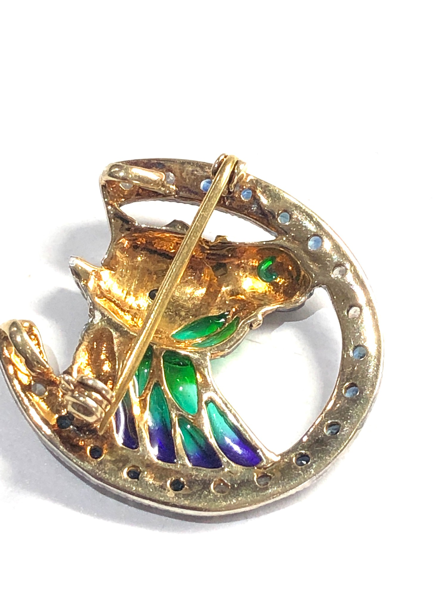 Fine Plique a Jour diamond and sapphire horse brooch gold back measures approx 2.8cm by 2.8cm - Image 4 of 4