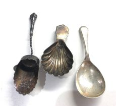 3 antique silver caddy spoons