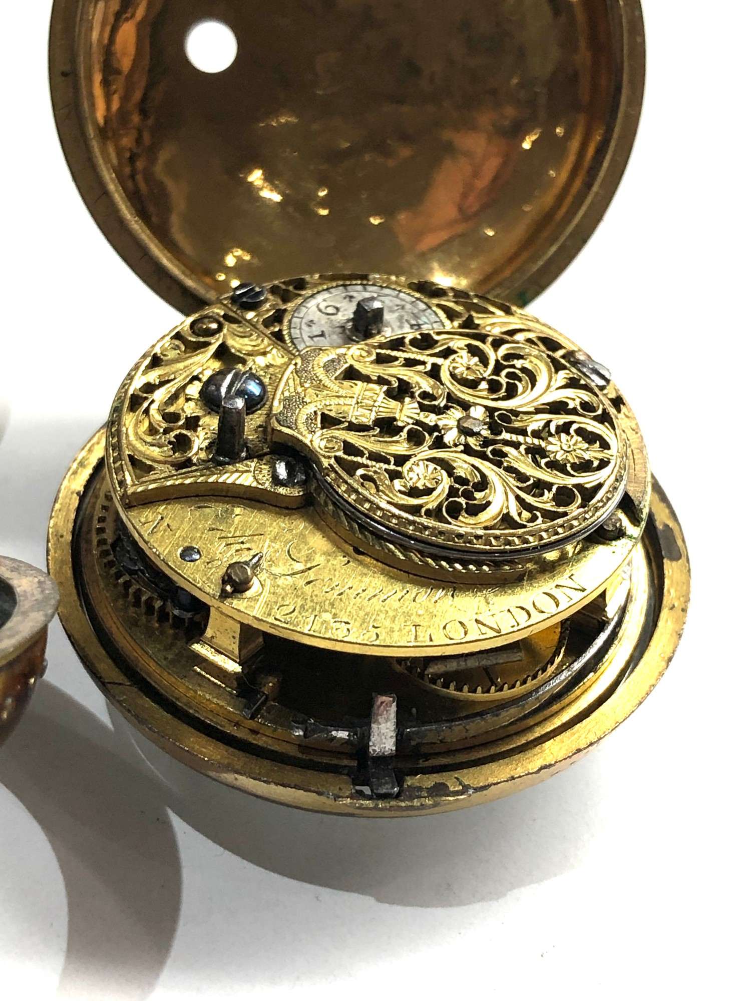 18th century London paircase verge pocket watch the watch does wind and tick dial damaged outer case - Image 2 of 9