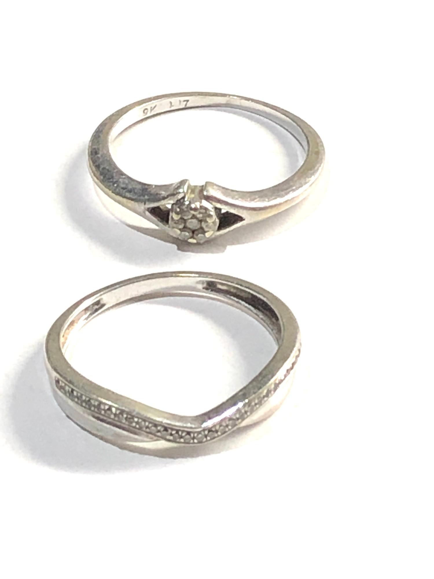 2 x 9ct white gold diamond set rings 3.1g