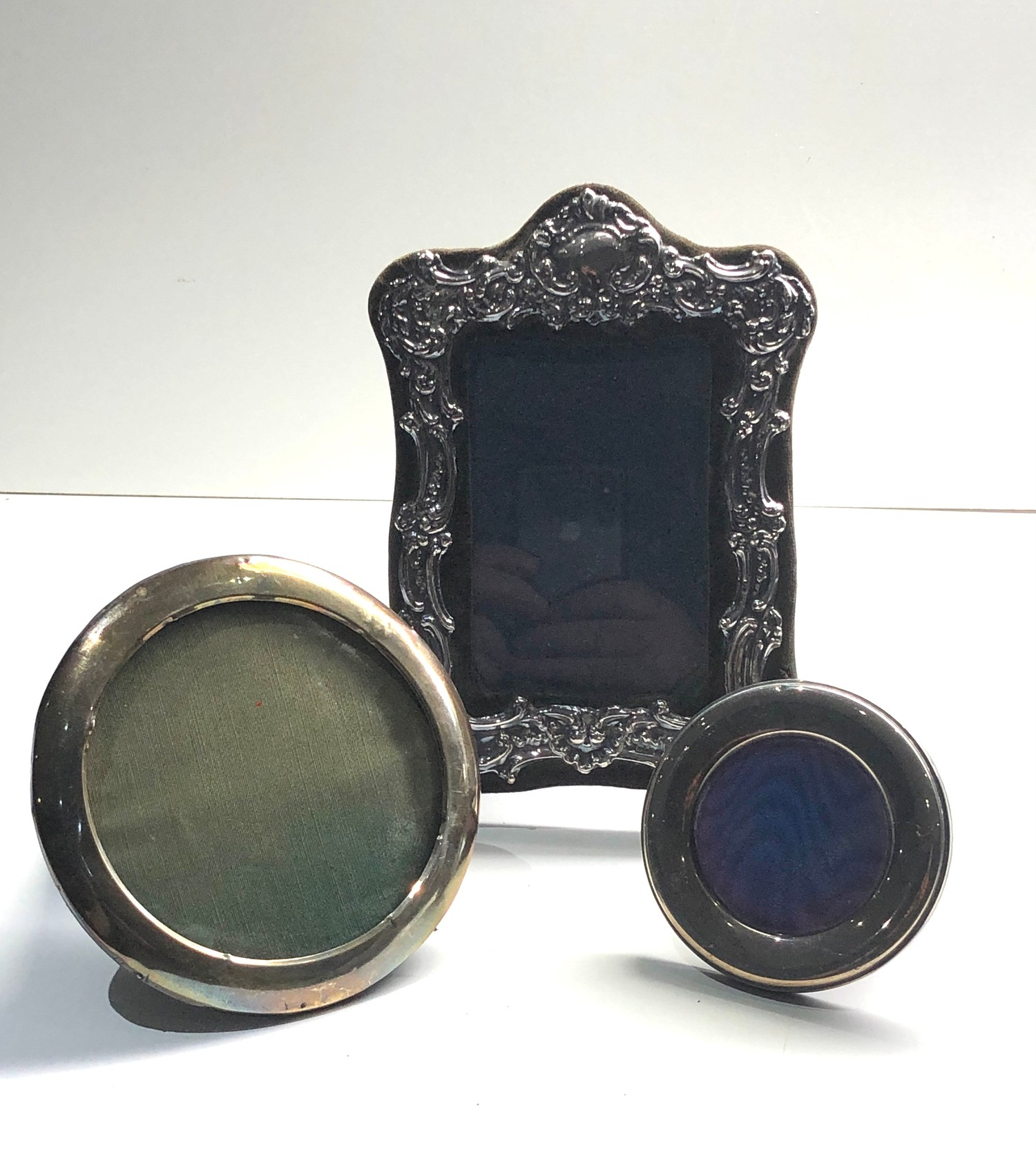 3 vintage silver picture frames largest measures approx 20cm by 16cm