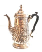 Fine early 18th century Newcastle silver coffee pot maker GB embossed chinese figures with family