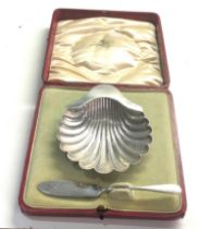 Boxed silver shell butter dish 82g original fitted box London silver hallmarks