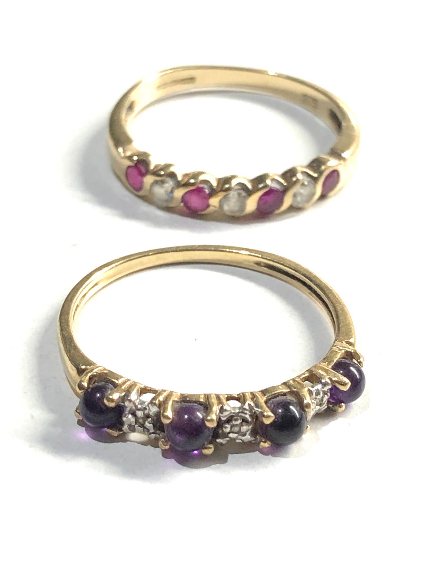2 x 9ct Gold seven stone rings inc. ruby, amethyst, diamond 3.2g - Image 2 of 3