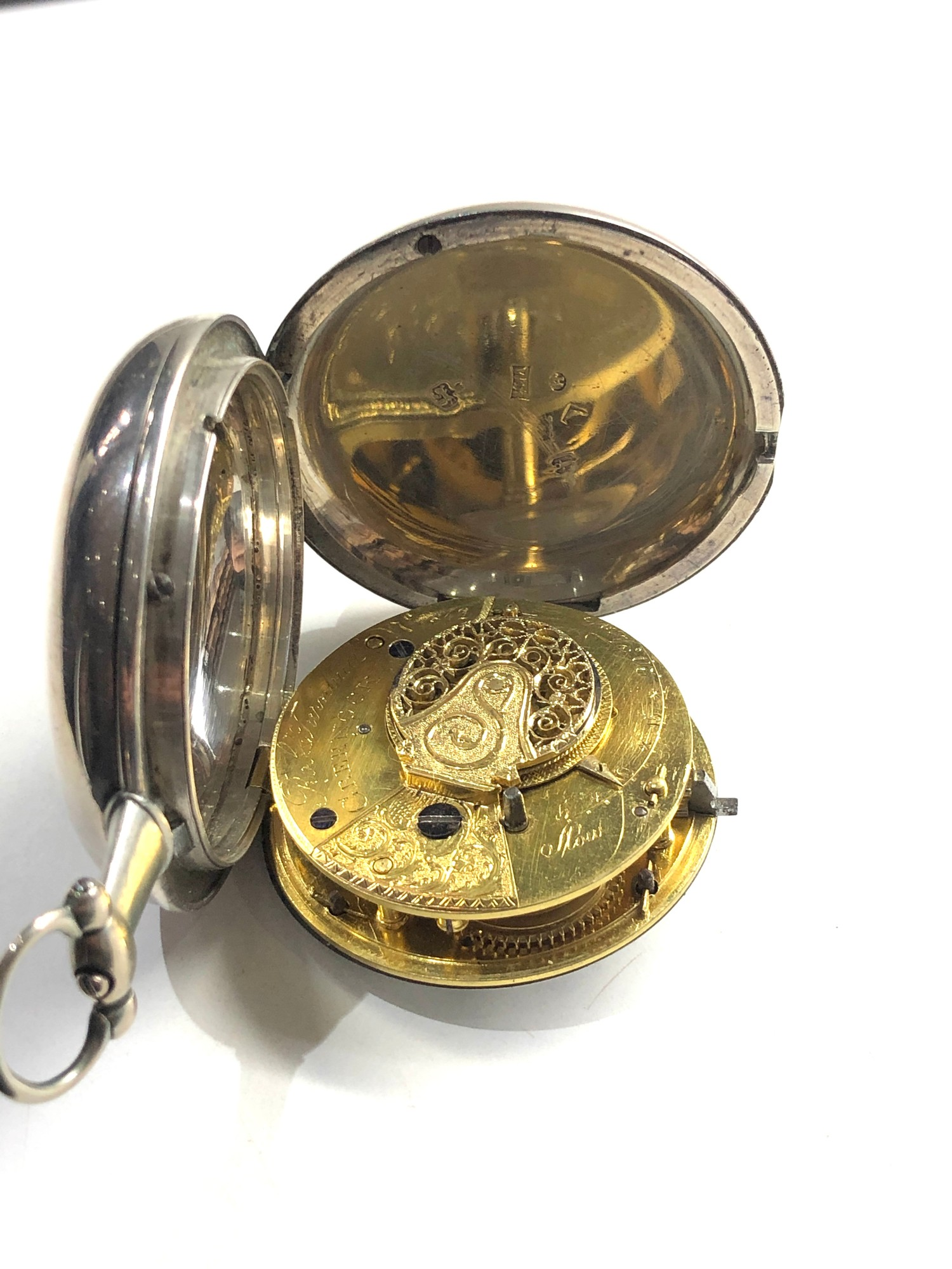 Fine antique silver full hunter case verge fusee pocket watch by Rob Turnball Greenock watch is in - Image 3 of 9